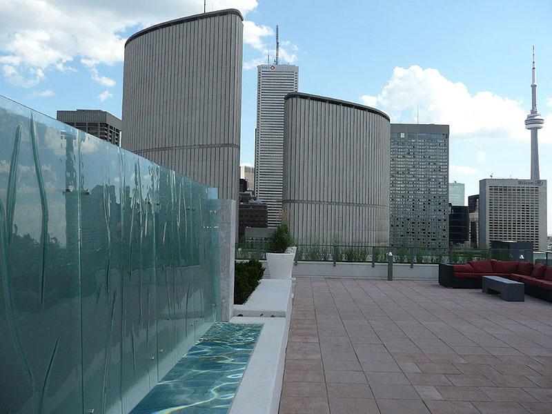 Decorative glass waterfall toronto cbd glass for Glass waterfall design