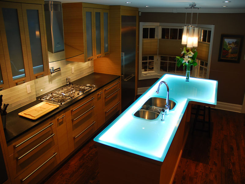 Glass countertop kitchen island innovative design for Glass kitchen countertops