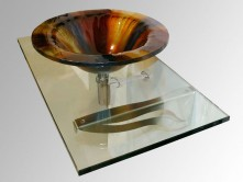 Glass countertop & vessel