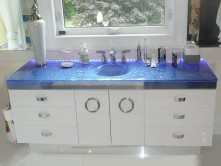 Glass bathroom integrated sink, textured, colored glass. Custom sizes and colors available