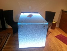 Glass furniture, textured glass countertop with pedestal and LED light