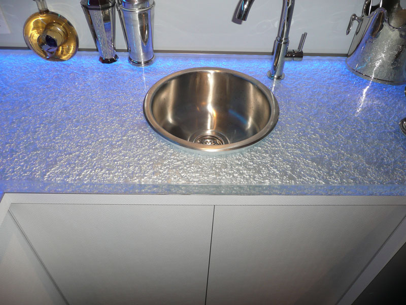 ... Bathroom Glass Sink Shown With Textured Glass, LED Light And Drop Down  Stainless Steel Sink