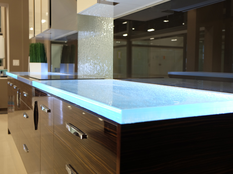 Butcherblock countertops vs glass countertops cbd glass for Glass kitchen countertops