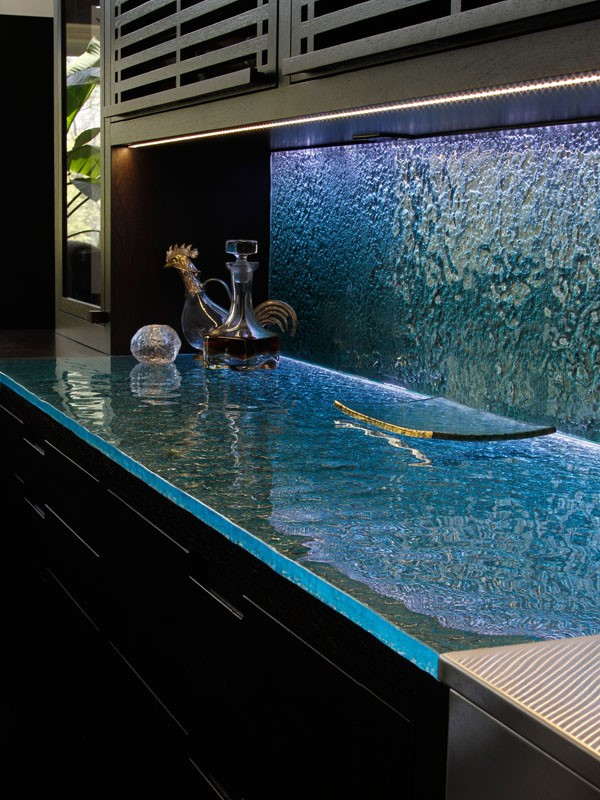 Glass Countertops & Glass Backsplashes Were Made For Each