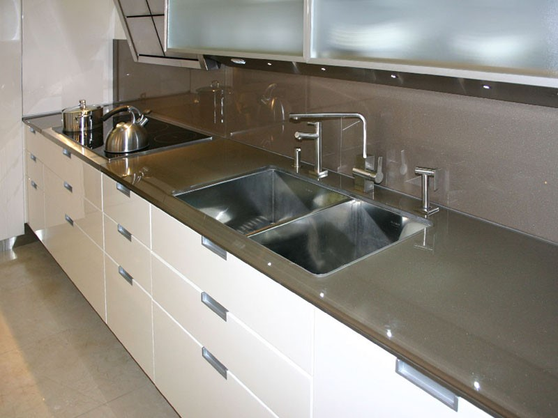 Glass Countertop : ... glass countertop and backsplash have identical back painted glass