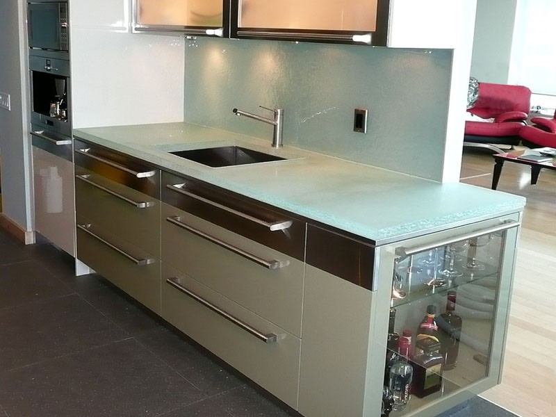 Glass Kitchen Countertops : Glass countertops backsplashes were made for each