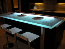 Recycled glass countertops vs glass countertops cbd glass for Tempered glass countertop vs granite