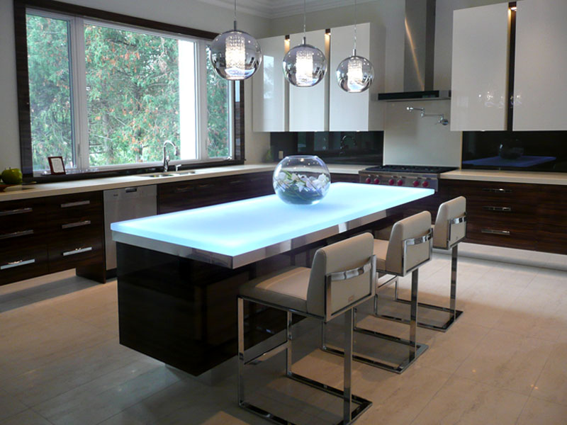 entire kitchen space it features our white onyx glass at 15 thick with brushed polished edges along with led under lighting - Glass Kitchen