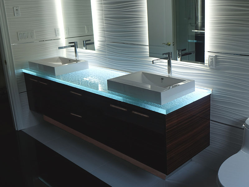 Integrated Glass Sinks Custom Design Cbd Glass