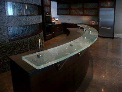 Raised Glass Countertops | Bars and Kitchens | CBD Glass