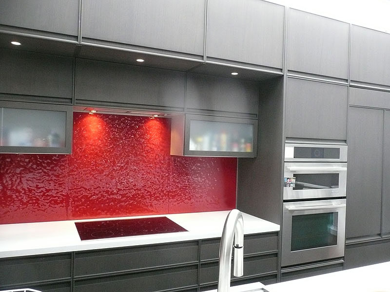 Glass backsplashes by CBD Glass, textured, colored glass.